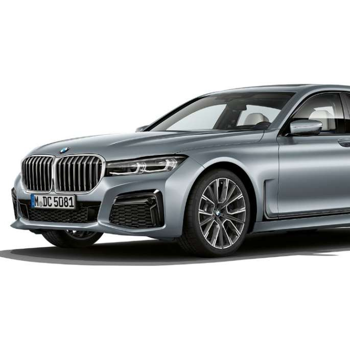 Grey BMW 7 Series Sedan M Sport package in three-quarter front view
